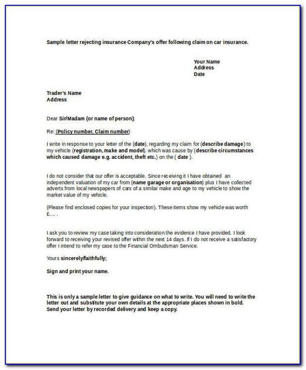Insurance Decline Letter Sample