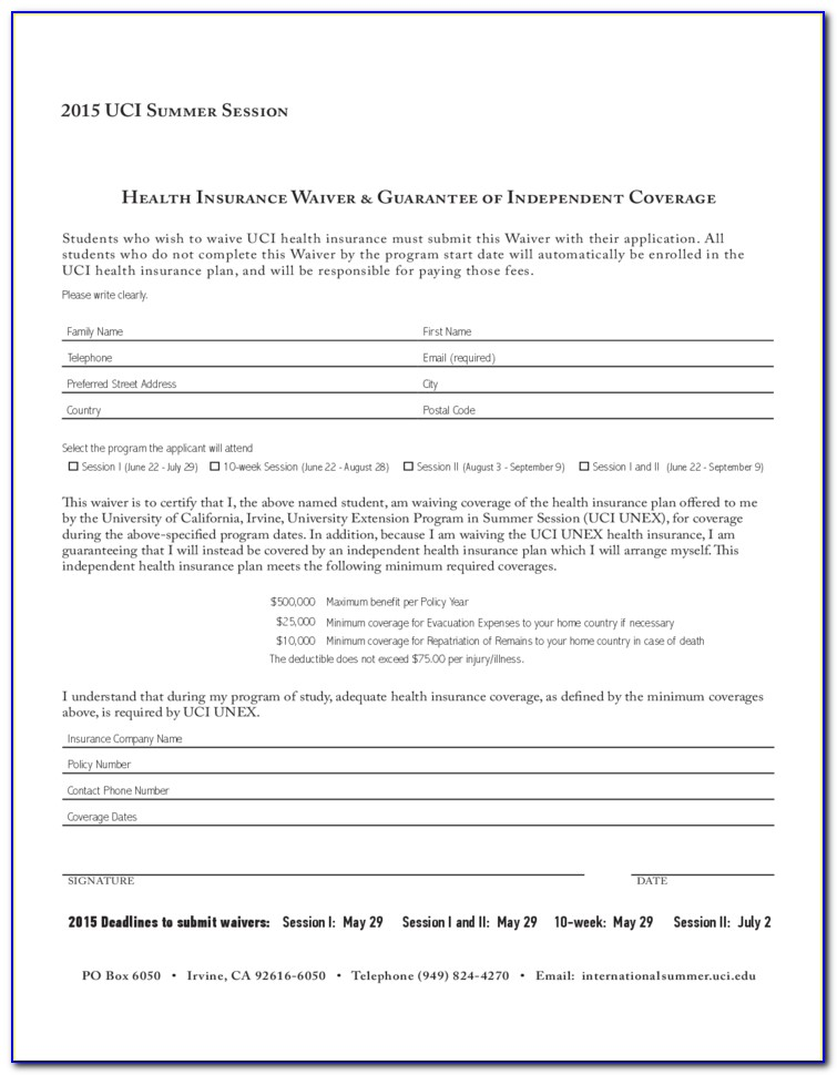 Insurance Waiver Form Example