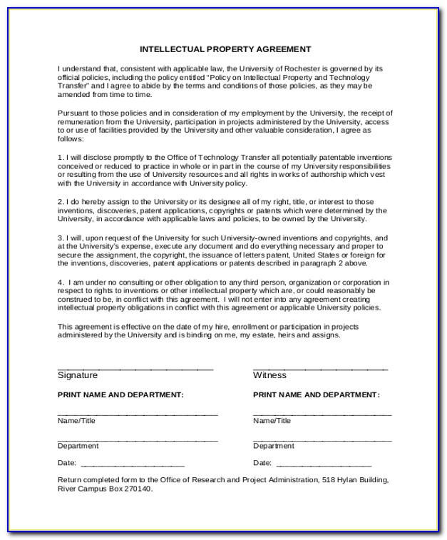 Intellectual Property Agreement Form