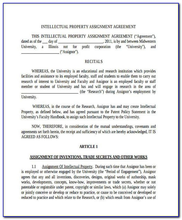 Intellectual Property Agreement Template Free Uk