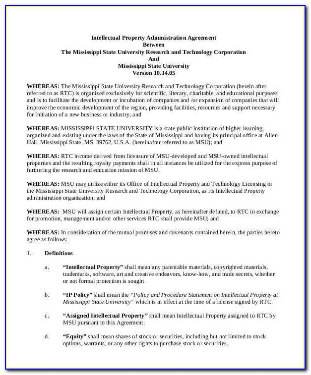 Intellectual Property Agreement Template Free