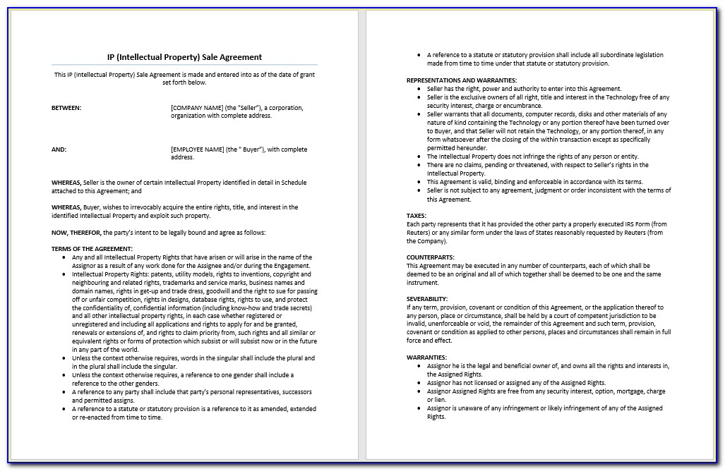 Intellectual Property Agreement Template South Africa