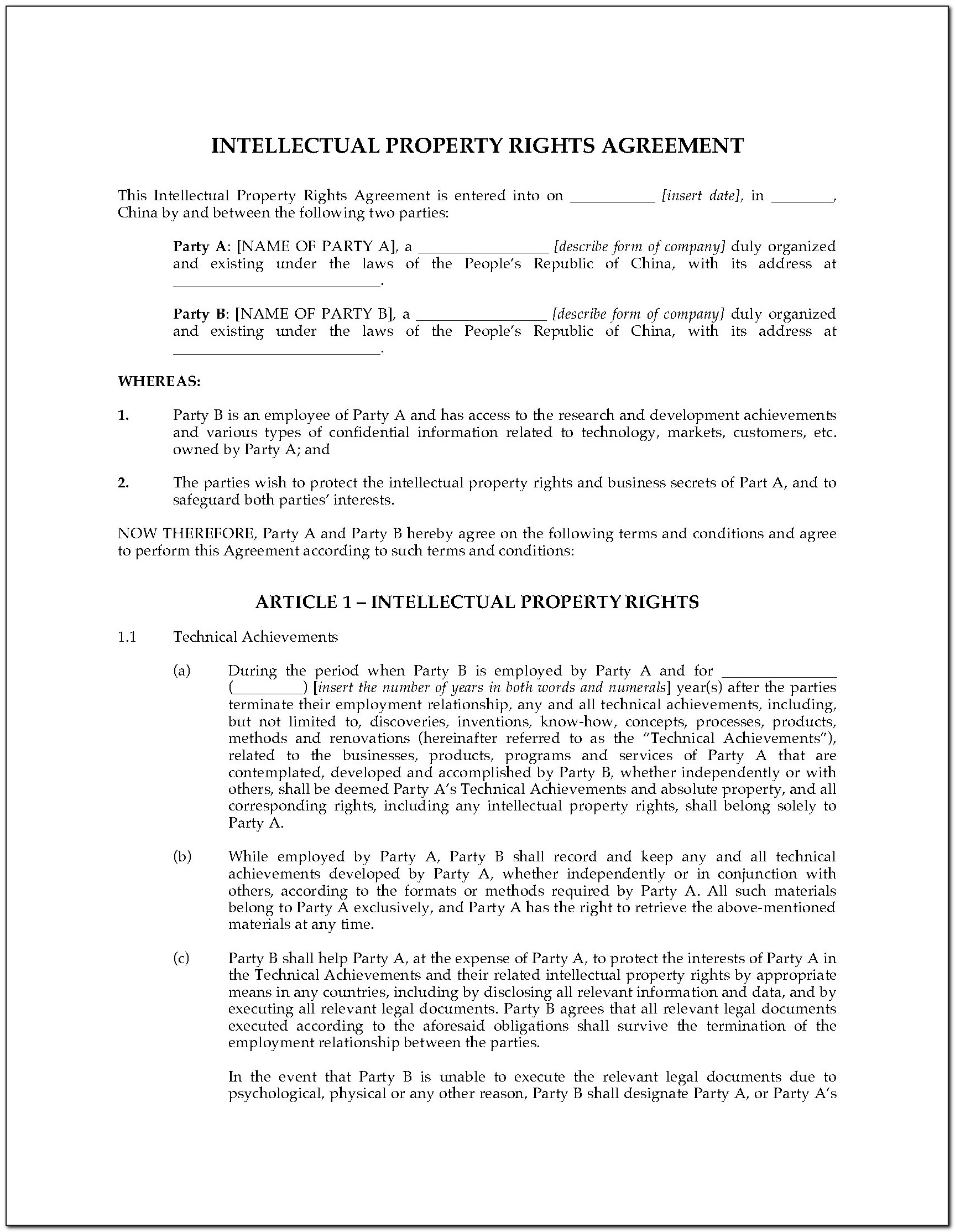 Intellectual Property Rights Agreement Form
