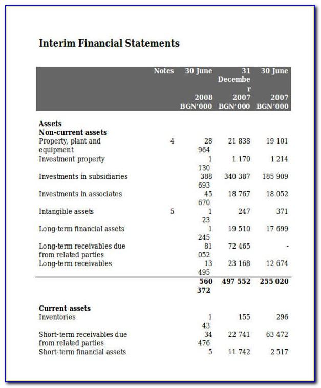Interim Financial Report Format