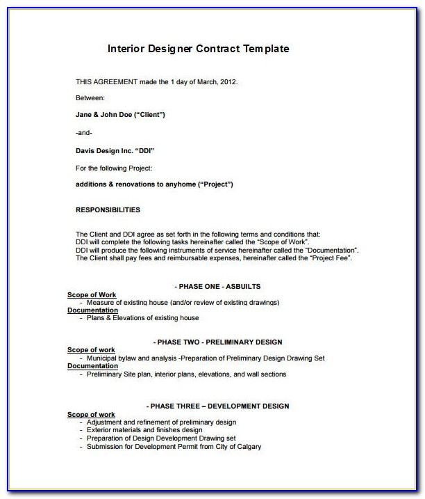 Interior Design Contract Template Free Download