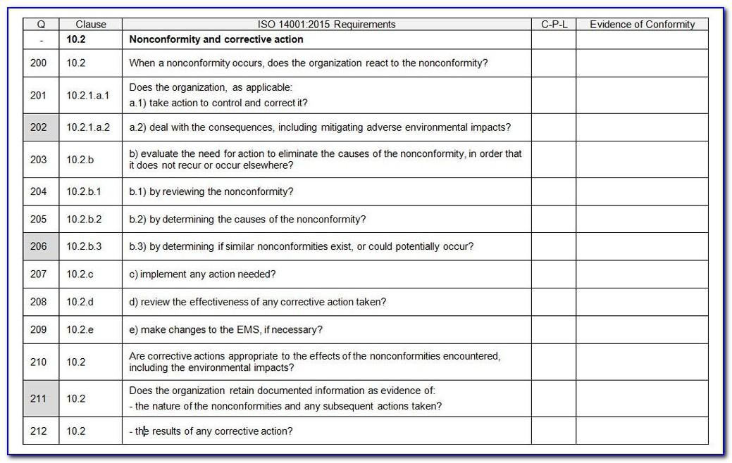 Internal Audit Checklist Template Ts16949