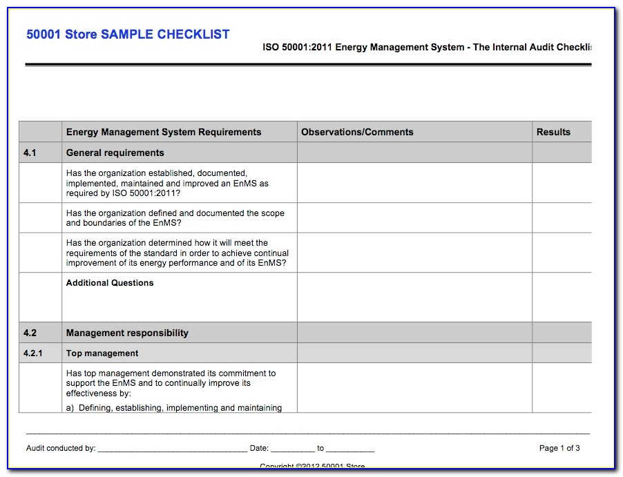 Internal Audit Schedule Template Iso 22000