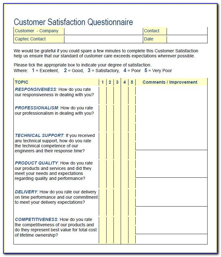 Internal Customer Satisfaction Survey Questionnaire Pdf