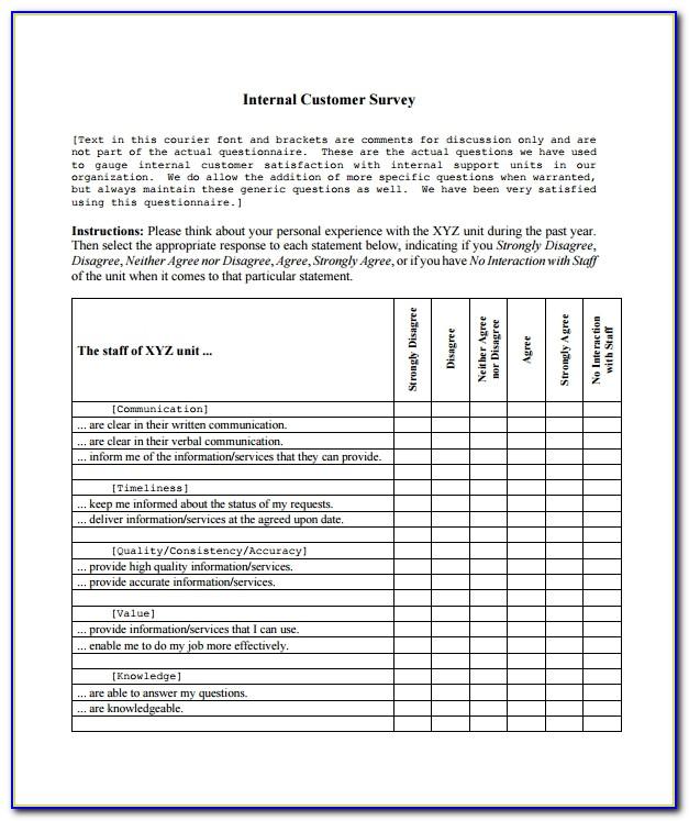 Internal Customer Satisfaction Survey Questions Sample
