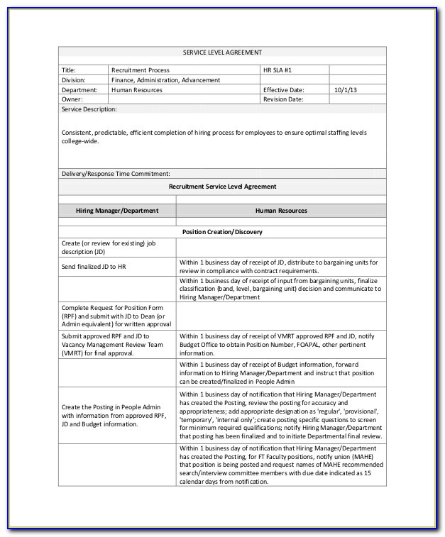 Internal Hr Service Level Agreement Template