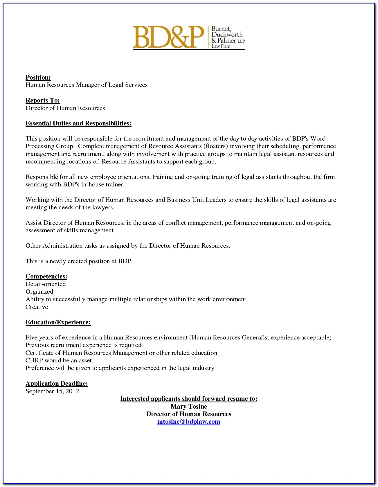 Internal Job Posting Template Microsoft Word