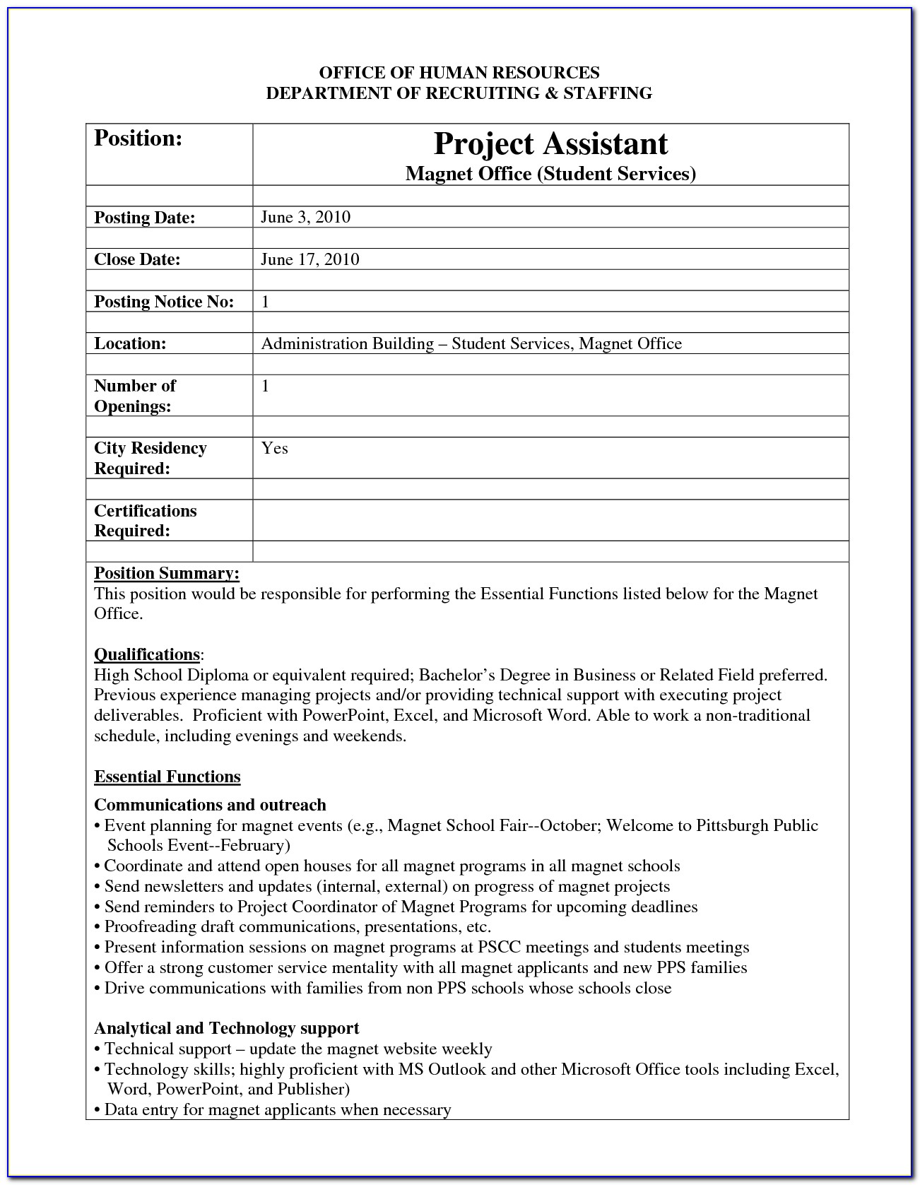 Internal Job Posting Template Shrm