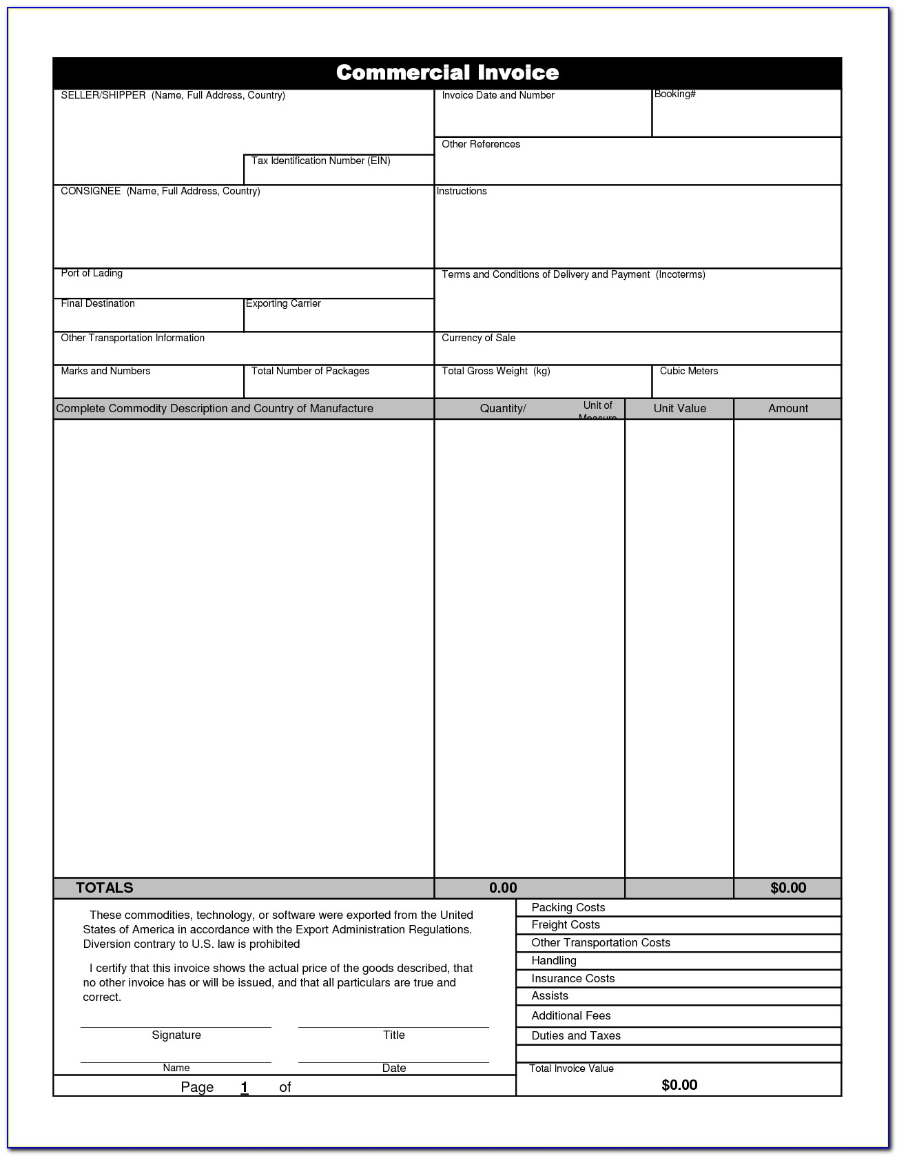 International Shipping Invoice Form