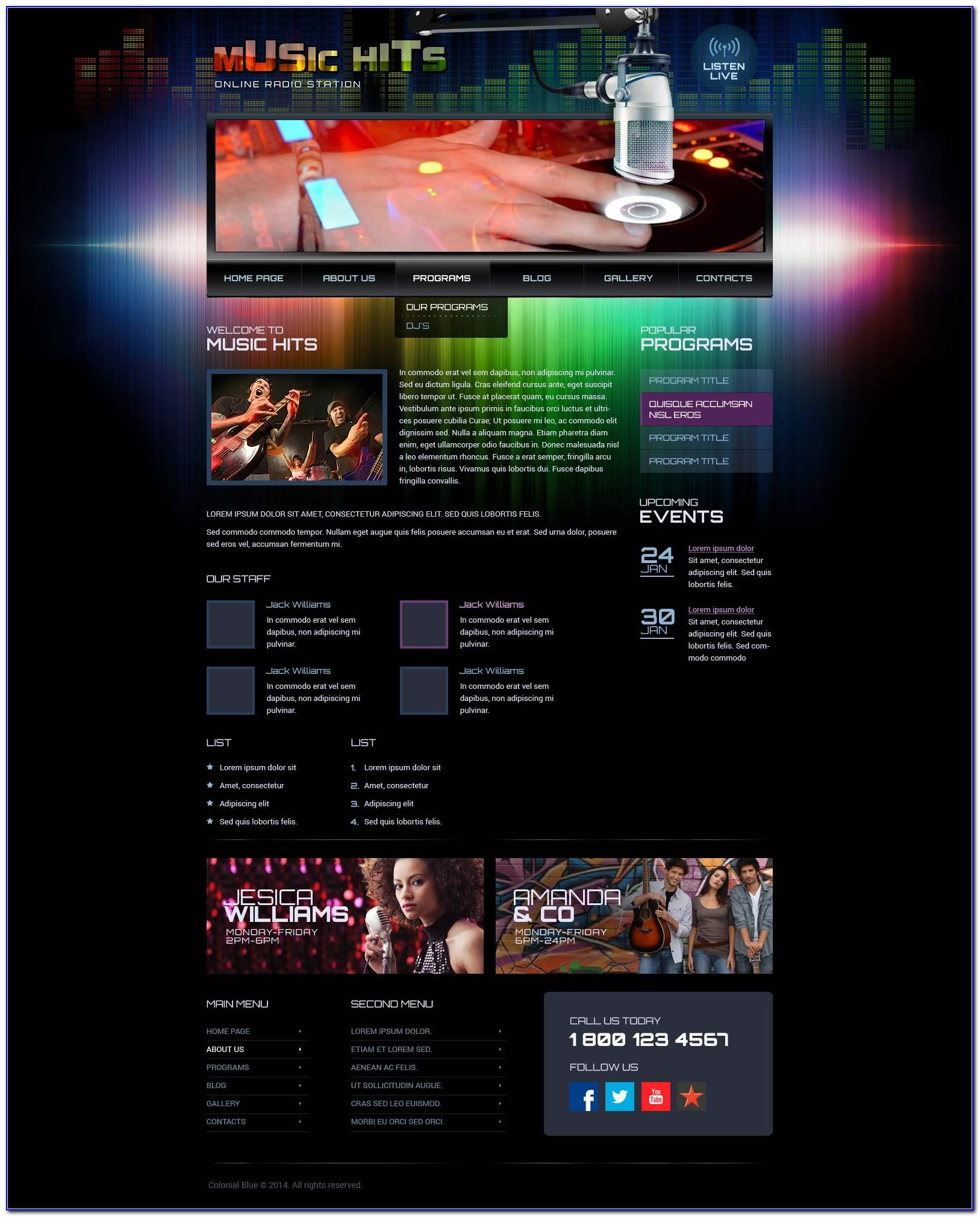 Internet Radio Station Website Template Free