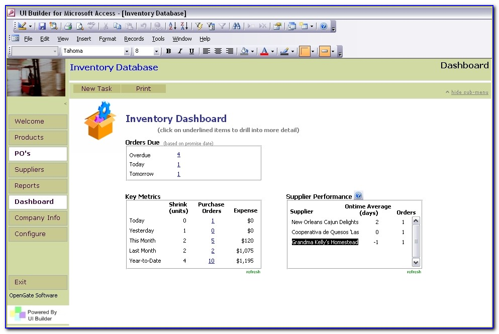 Inventory Control Access Database Template
