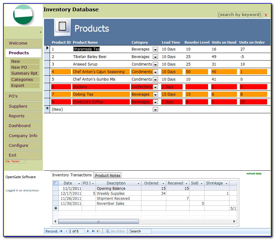 Inventory Control Access Database Templates