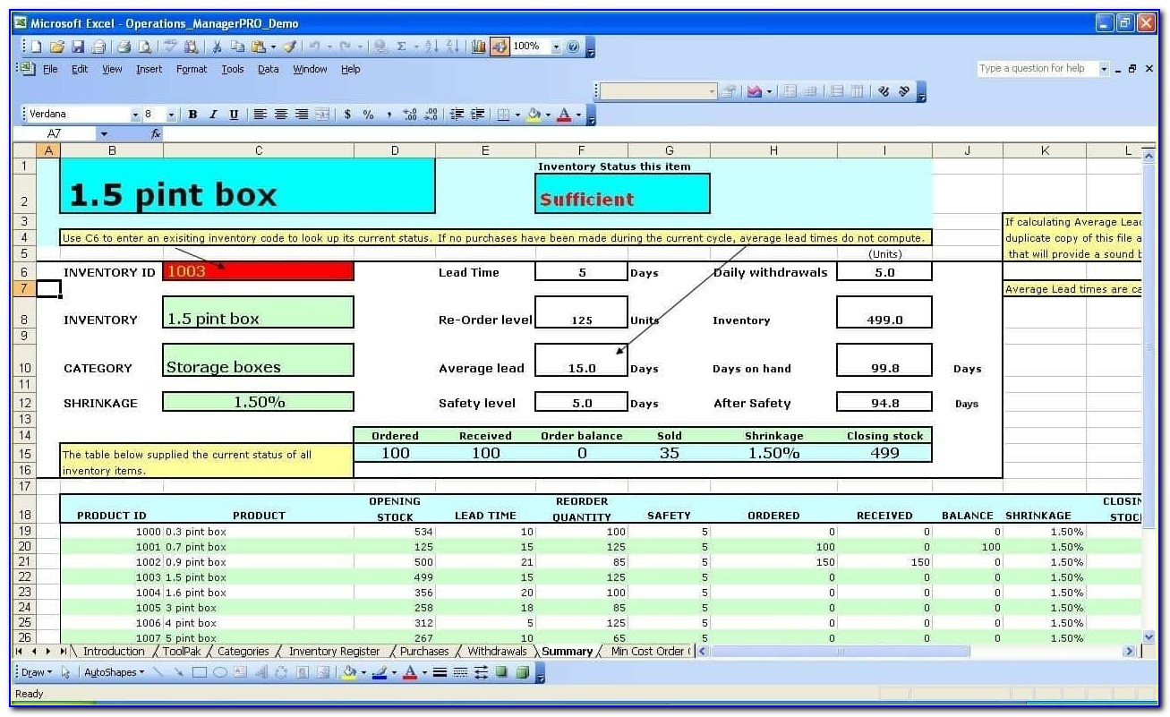 Inventory Control Excel Template Free Download