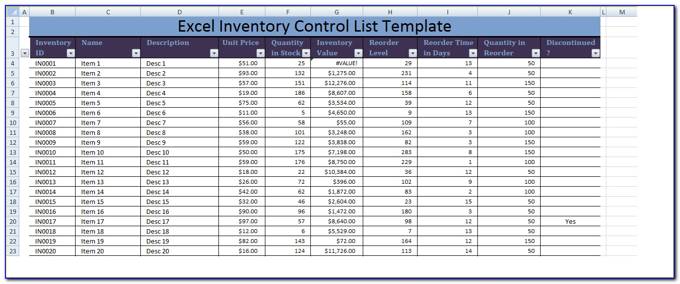 Inventory Control Management Excel Template