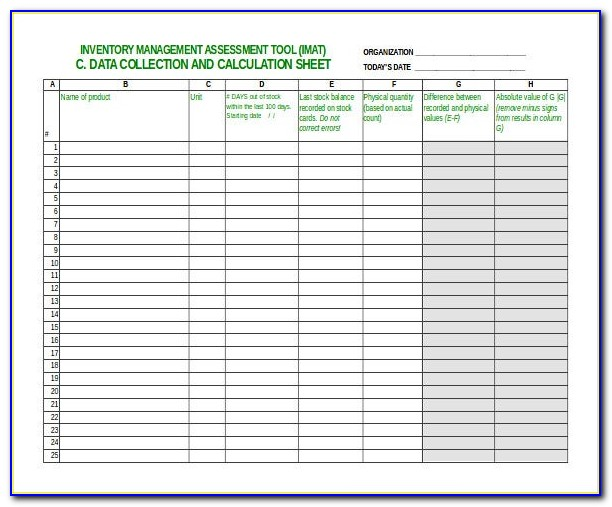 Inventory Control Sheet Example