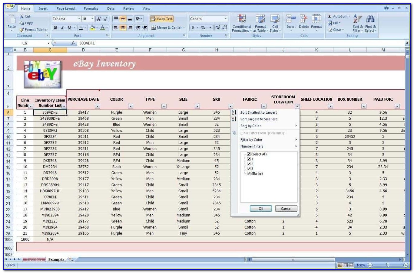 Inventory Control Spreadsheet Excel Software