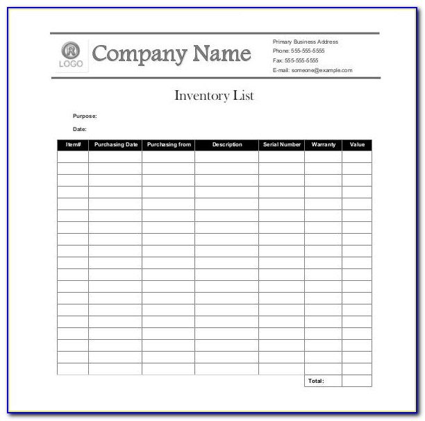 Inventory Counting List Excel Template