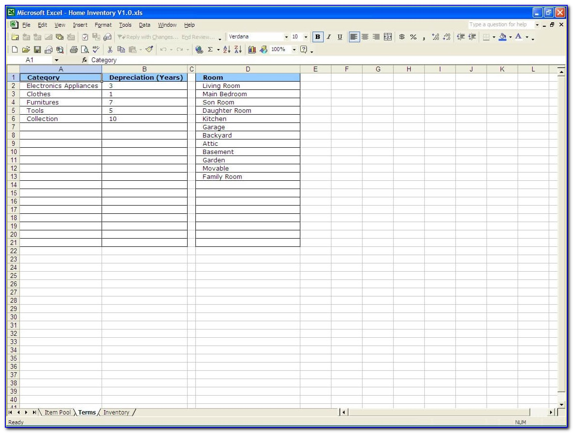 Inventory List Example Excel