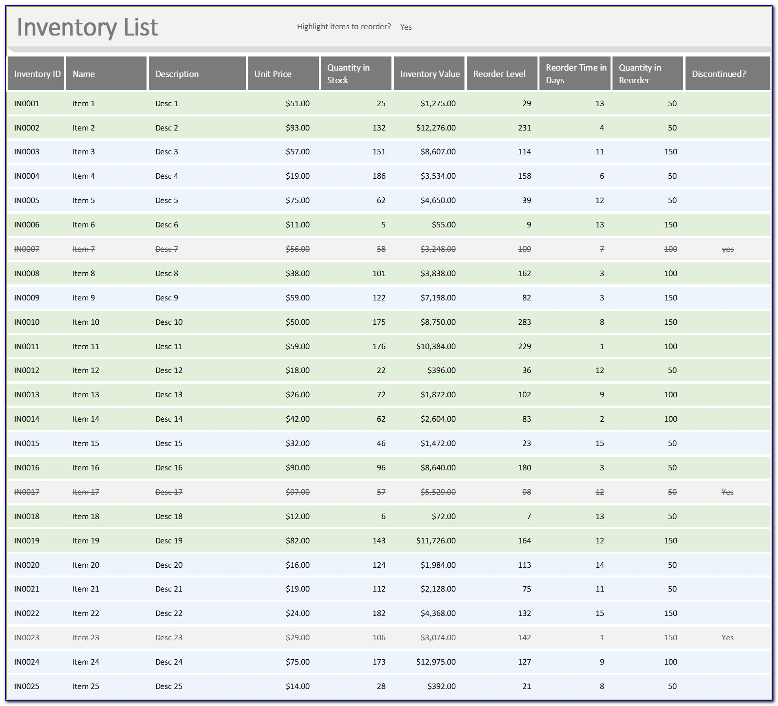 Inventory List Excel Templates