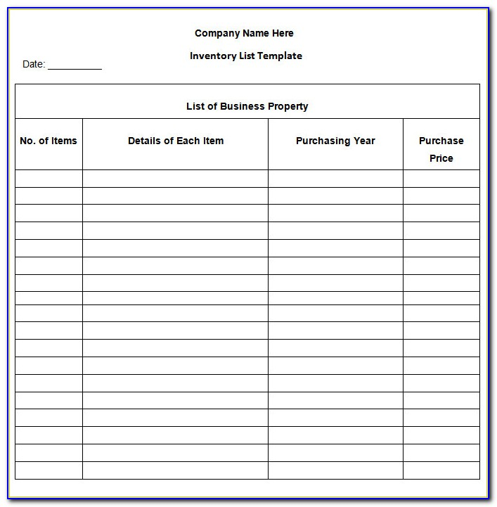 Inventory List Template Excel 2007