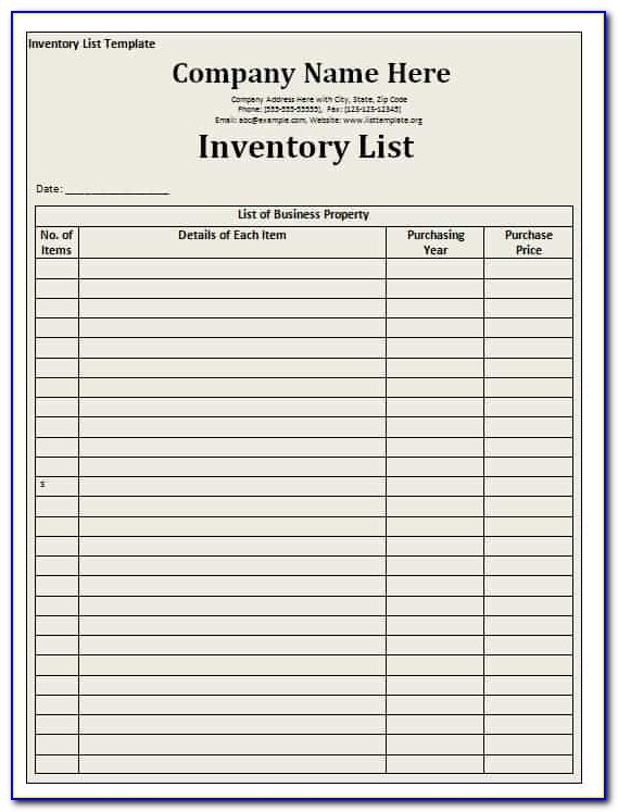 Inventory List Template Excel 2013