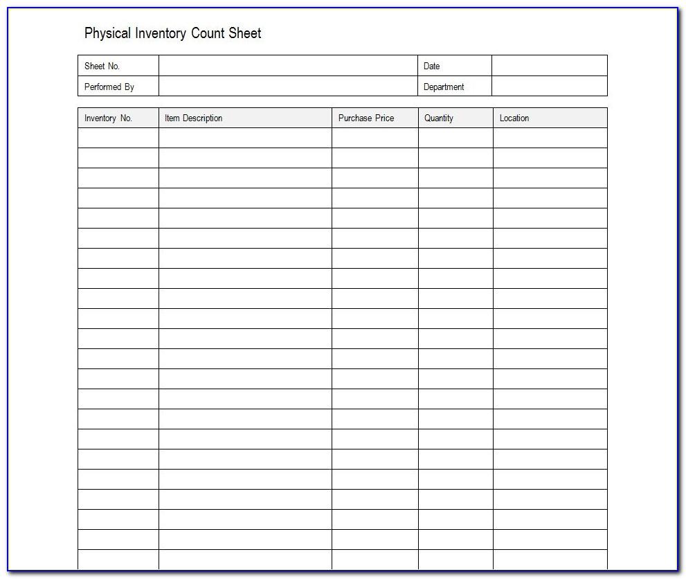 Inventory Sheet Sample Excel