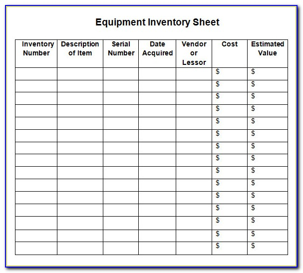 Inventory Spreadsheet Excel Template