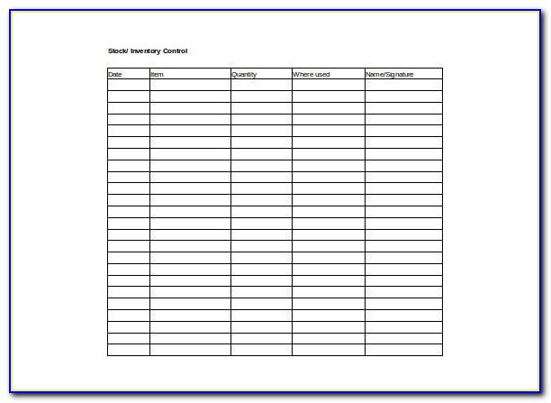 Inventory Stock Control Excel Template