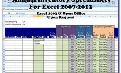 Inventory Worksheet Template Excel