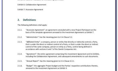 Investment Agreement Template Microsoft Word