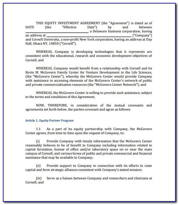 Investor Agreement Format India