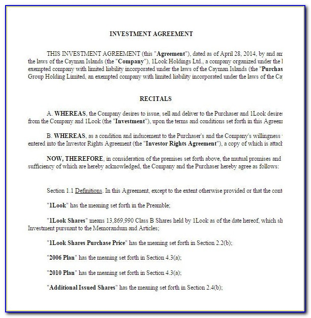 Investor Agreement Template Llc