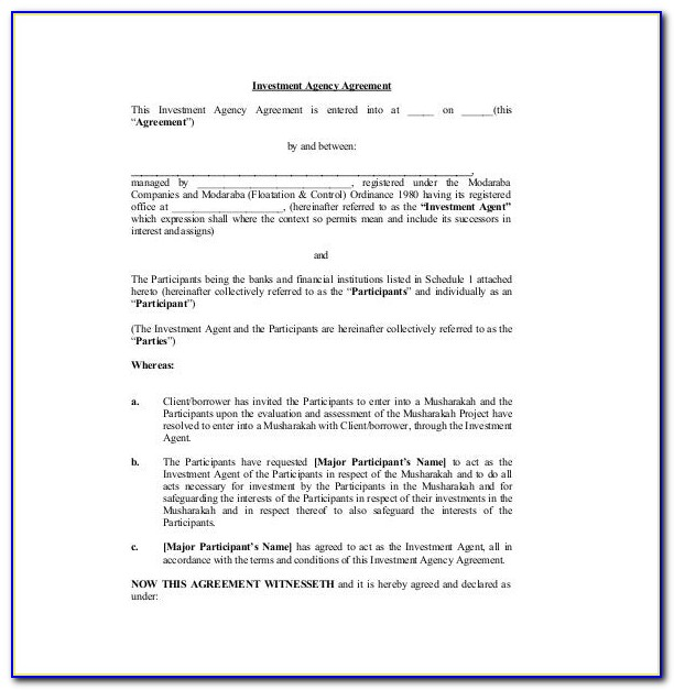 Investor Agreement Template Pdf