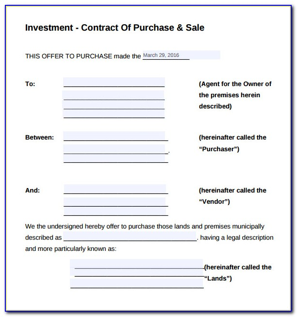 Investor Contract Agreement Sample