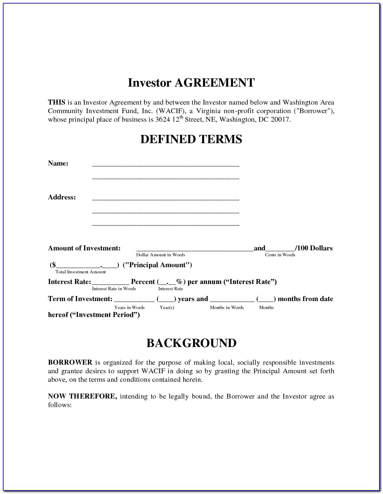 Investor Financing Agreement Sample Download