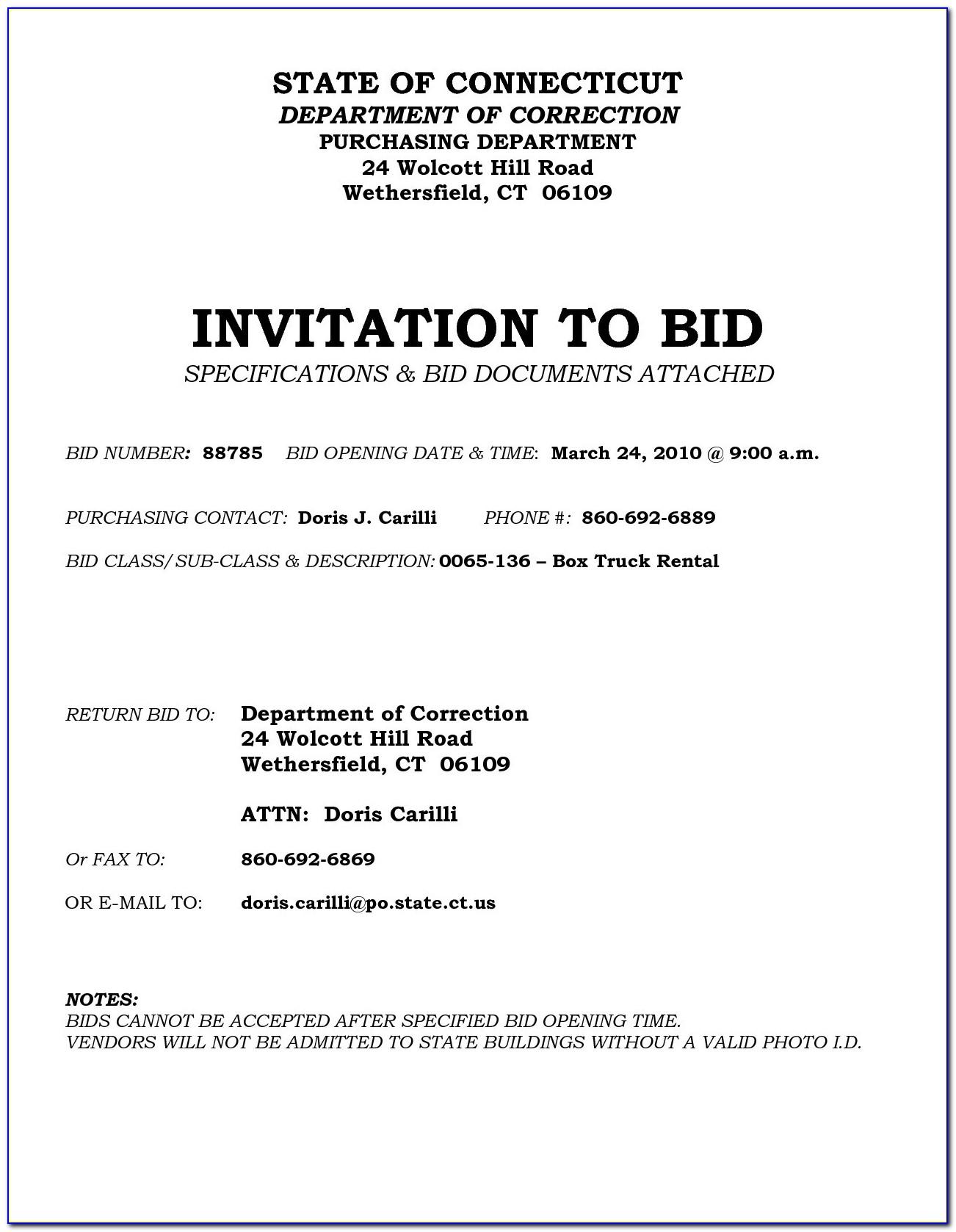 Invitation To Bid Document Template