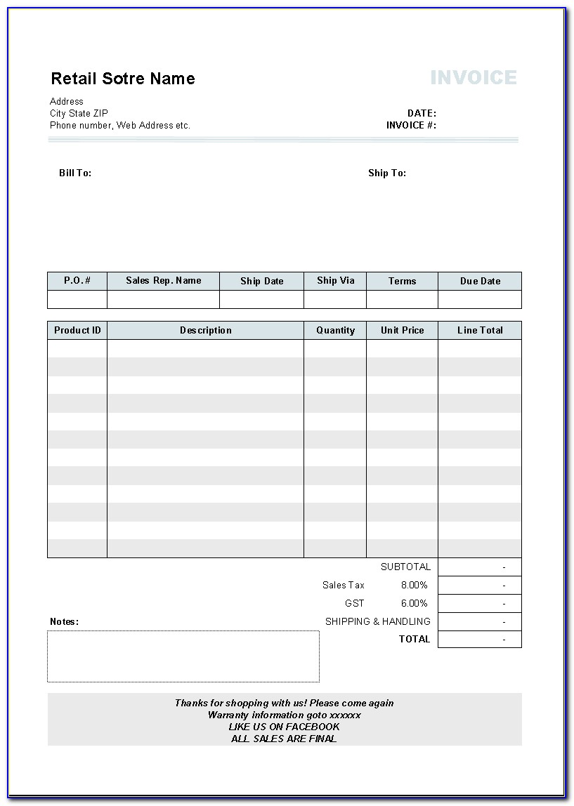 Invoice Form For Pages