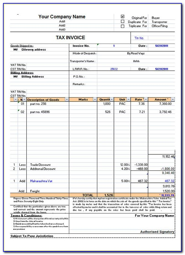 Invoice Format In Ms Word Free Download