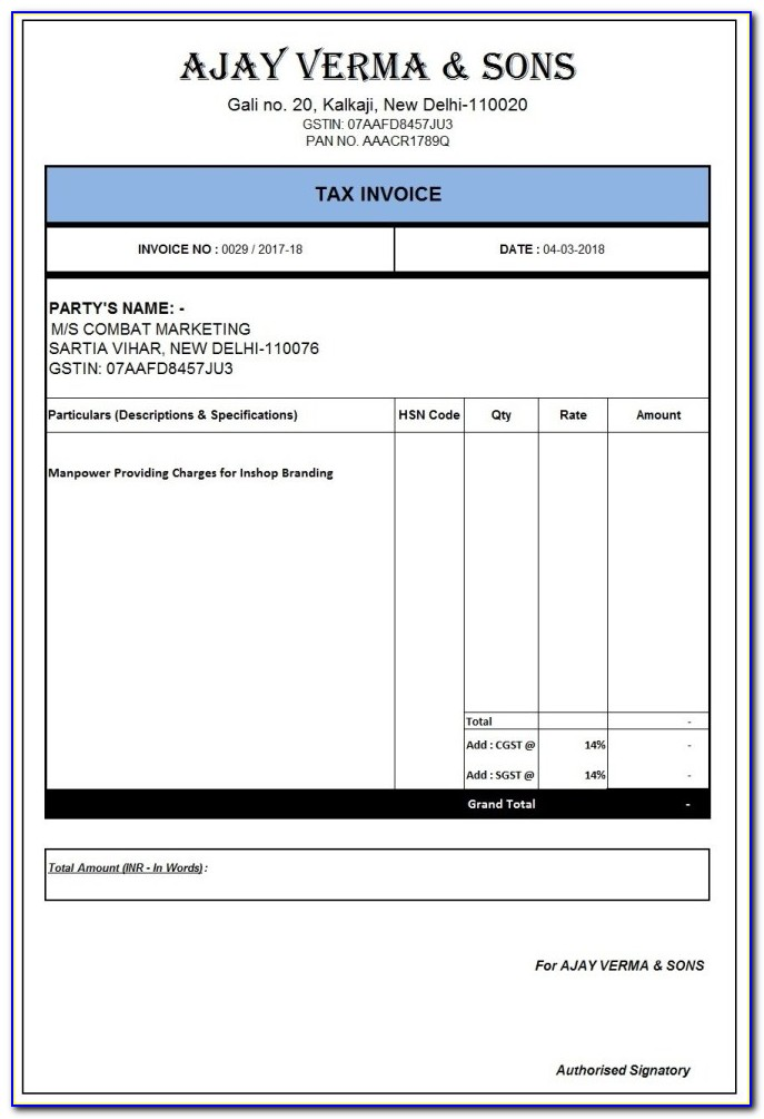 Invoice Format Sample Excel
