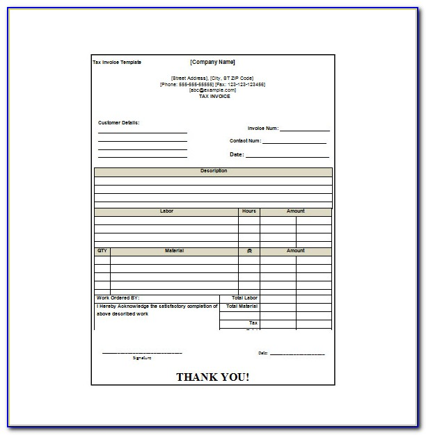Invoice Receipt Template Pdf
