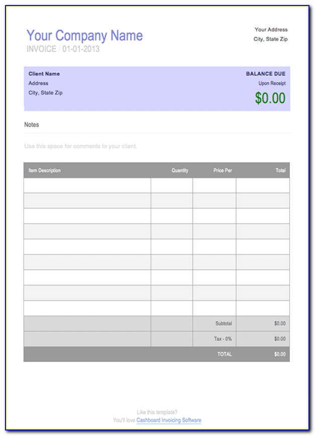 Invoice Template Download Excel