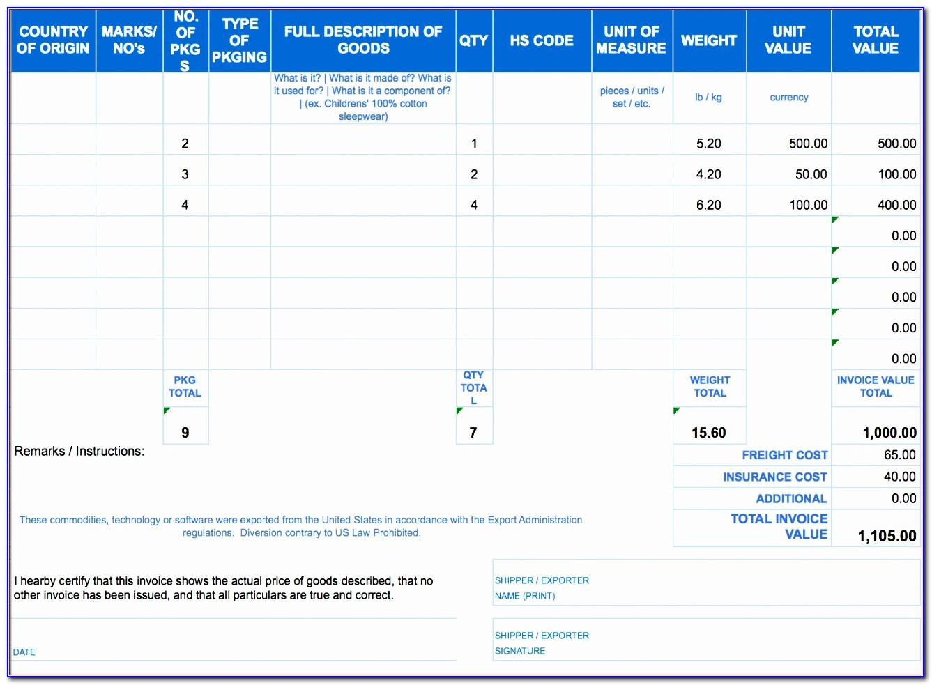 Invoice Template Excel 2007 Download