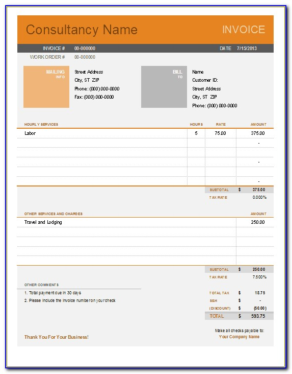 Invoice Template For Contractor Hours
