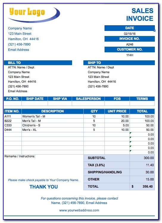 Invoice Template Free Download Excel