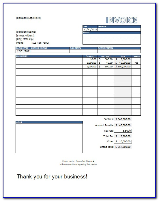 Invoice Template Free Download Pdf