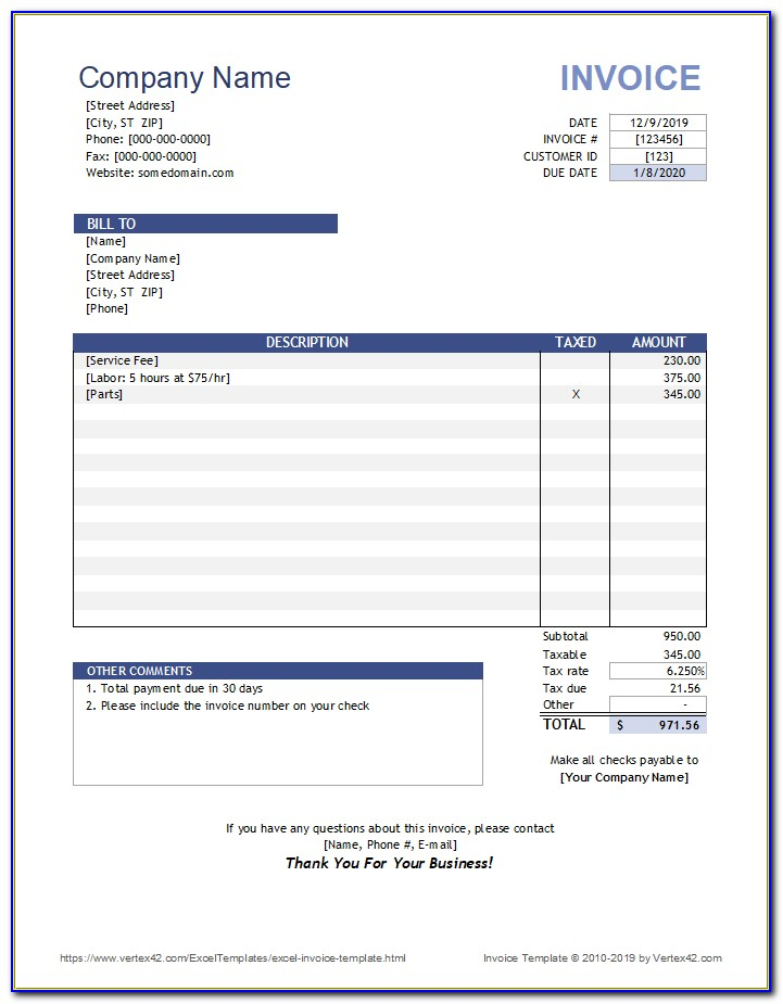 Invoice Template Microsoft Excel 2007